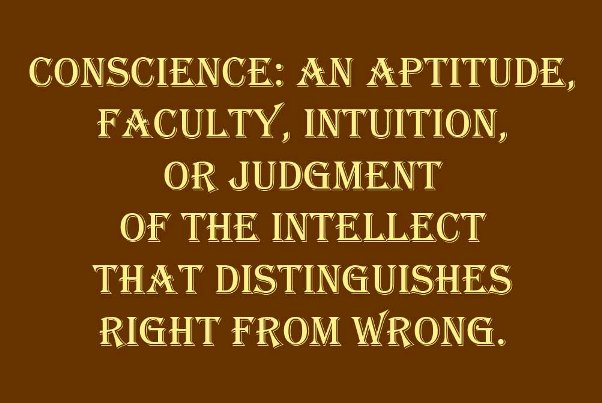 following my conscience. conscience: an aptitude, faculty, intuition, or judgment of the intellect that distinguishes right from wrong.
