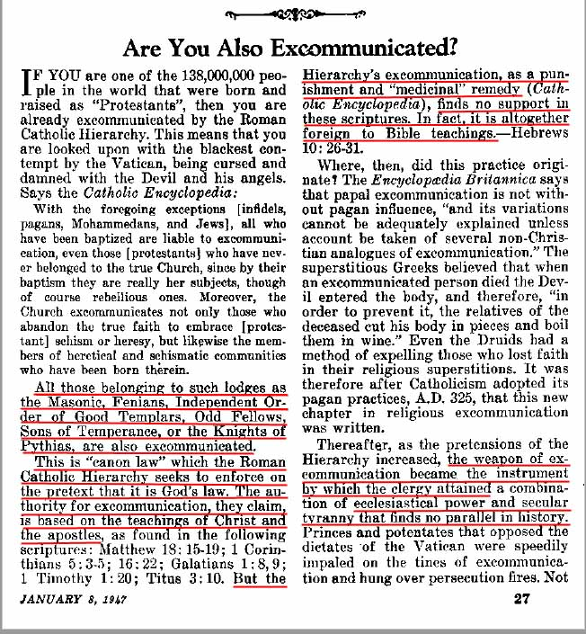 1947 Awake article criticizes Catholics for excommunication dogma