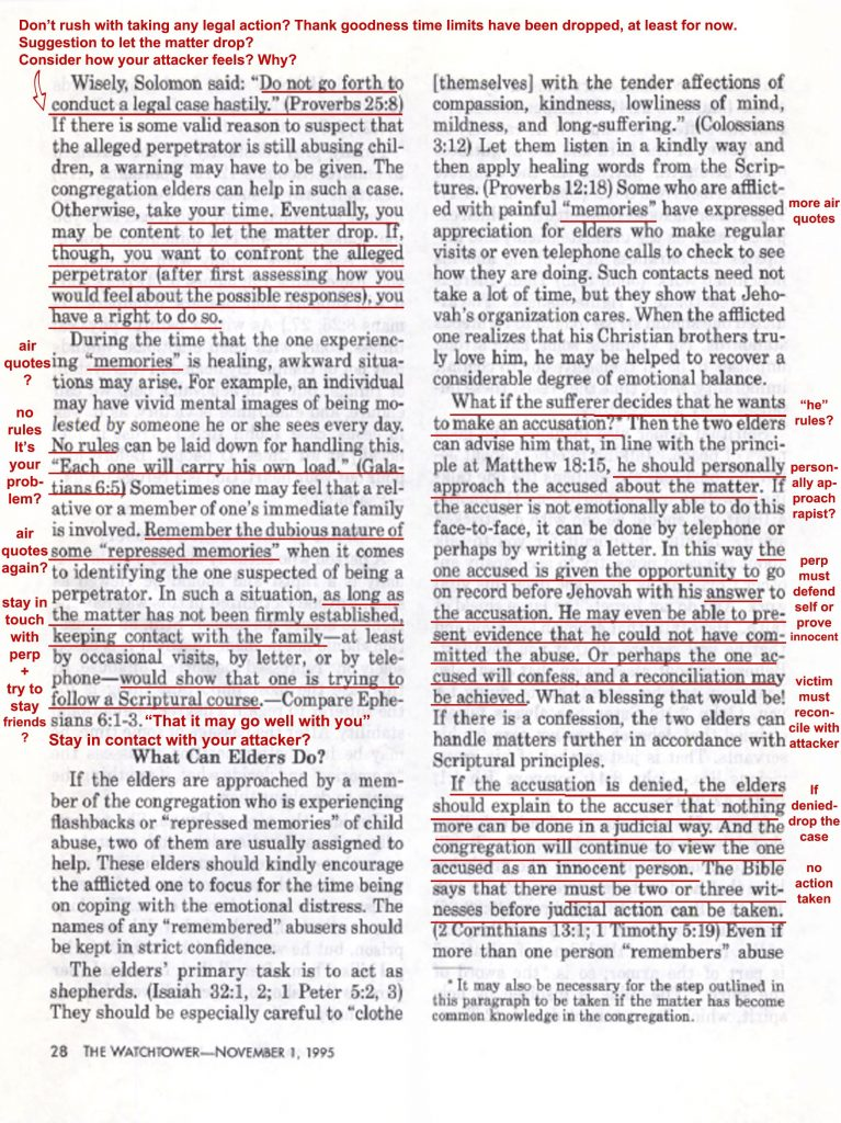 Nov 1 95 WT p 28 Comfort for Stricken Spirit underlined with my notes