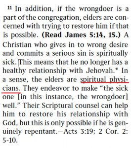 """Patriarchal control of Watchtower declares elders to be """"spiritual physicians"""""""