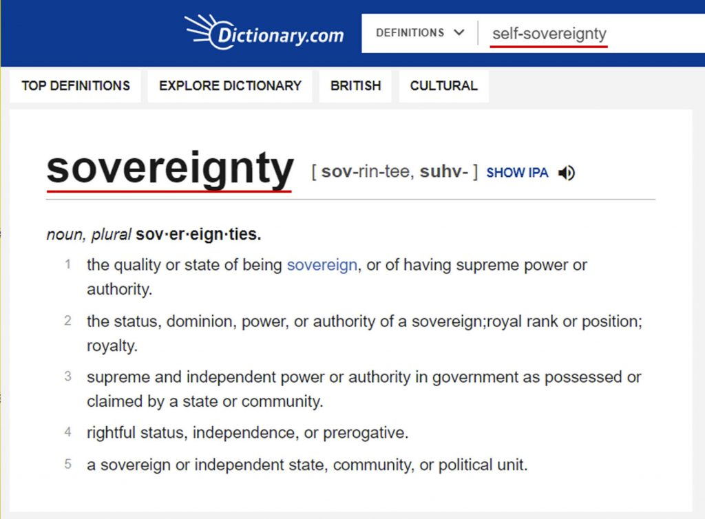 Sovereign Being Definition of self-sovereign bypasses to sovereign underlined