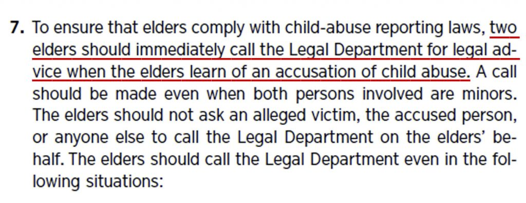 Two Elders must call Watchtower legal dept re child sexual abuse