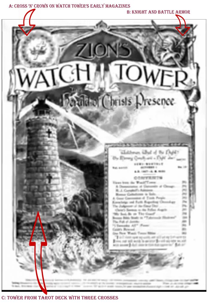 Watch Tower Secret Society Symbols on early magazine