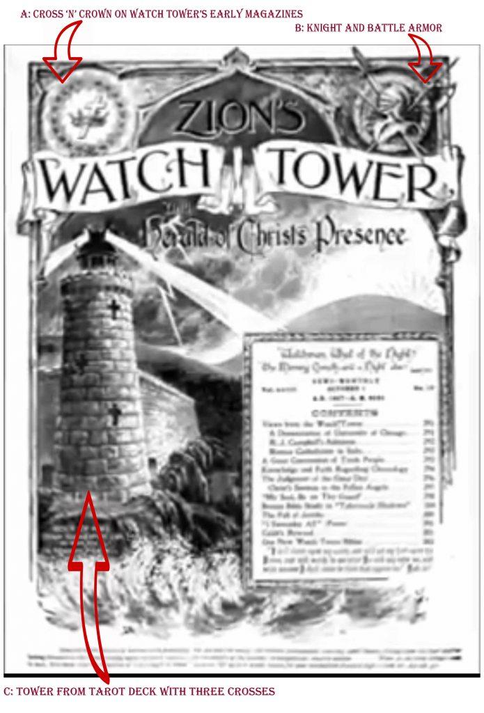 Watch Tower Secret Society Symbols on early magazine