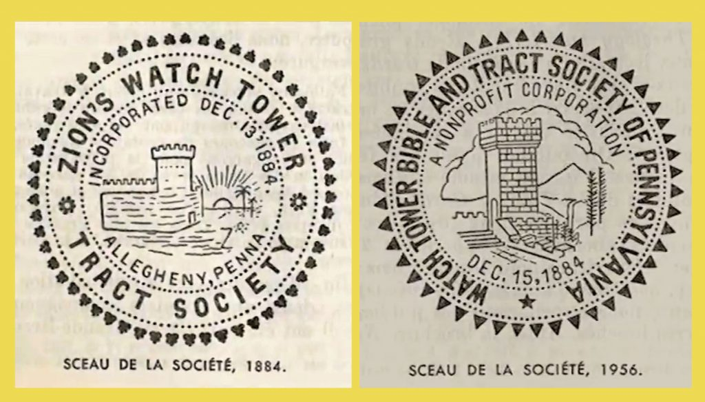 2ions Watchtower's corporate seals 1884 and without 2ion's1956