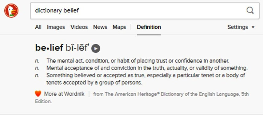 """Belief: Something believed or accepted as true., mostly because others adopt that view. - a type of """"group think"""""""