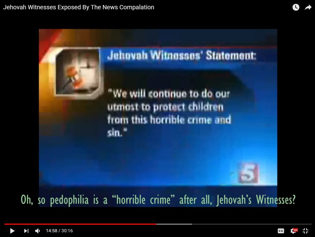 Pedophilia is a horrible crime, but Jehovah's Witnesses call it a sin first. They don't report pedophilia to authorities